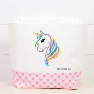 Unikornis textil tároló, rózsaszínben, pelenka tartó, Otthon & Lakás, Játéktároló, Tárolás & Rendszerezés, Textil tároló, hímzett unikornis mintával, rózsaszínben  A textil doboz ---------------- Minőségi pa..., Meska