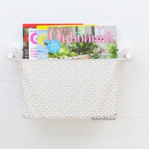 Tároló bézs - fehér méhsejt mintás, falra szerelhető tartó, magazintartó, újságtartó, irodaszer és levél-, irattartó (OdorsHome) - Meska.hu