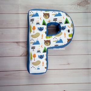 Betűpárna erdei állatos, formapárna, baba születés ajándék, fotózási kellék, szülinapi ajándék, névnapi ajándék, Gyerek & játék, Játék, Gyerekszoba, Baba játék, Varrás, Kedves, ölelni való párnát készítettünk a legkisebbek számára. Szuper ajándékötlet ha babalátogatóba..., Meska