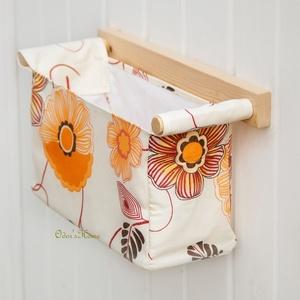 Fali tároló 1 rekeszes, pasztell sárga alapon narancs színű virágokkal (OdorsHome) - Meska.hu