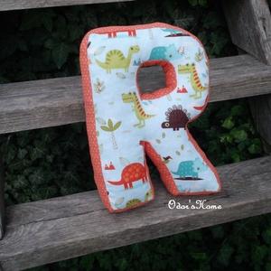 R betűpárna - betű alakú forma párna a baba monogramjával, nevével babafotózáshoz fotózási kellékként, dinoszauruszos, Otthon & Lakás, Párna & Párnahuzat, Lakástextil, Betűpárna | R betű forma párna  Szuper ajándékötlet ez a mutatós betűpárna ha babaváró buliba vagy b..., Meska