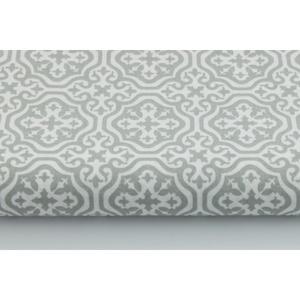 Szürke - fehér színű marokkói mintás textil, világos szürke és fehér Moroccan minta, mozaik mintás, Textil, Pamut, Varrás, Textil, 100 pamut textil szürke és fehér színben, Marokkó mintás\n\nAnyagszélesség: 160 cm\nAnyagvastagság: 145..., Meska