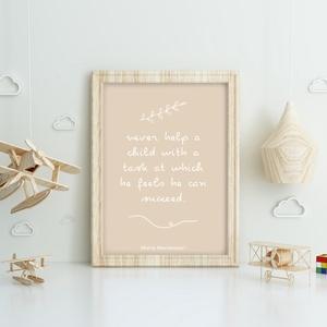 Letölthető Babaszoba dekoráció, babaszoba falikép Montessori idézettel, gyerekszoba print art, Otthon & Lakás, Kép & Falikép, Dekoráció, Montessori idézettel készült pasztell színvilágú gyerekszoba fali dekoráció, letölthető fájl  Anyuka..., Meska