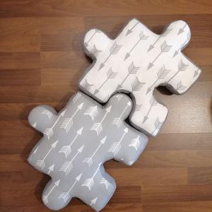 Puzzle párna szett - formapárna - dekorációs párna - ülőpárna - játszószőnyeg - NAGY méretű összeilleszthető párna, Otthon & Lakás, Lakástextil, Párna & Párnahuzat, Puzzle formájú párna szettet készítettünk, ami tökéletes ajándék a szerelmes pároknak, mivel összeil..., Meska