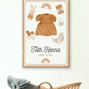 Születési emlék fali kép, print art, babaszoba dekoráció, újszülött ajándék, személyre szabott babalátogató ajándék, Otthon & Lakás, Dekoráció, Kép & Falikép, Fotó, grafika, rajz, illusztráció, Születési emlék babaszoba fali kép \n\nSzemélyre szóló fali kép, csupa fajátékkal, természetes játékka..., Meska