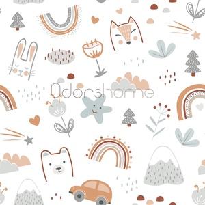 Premium Designer Pamutvászon textil, Skandináv textil, Skandi róka, nyuszi, maci, autó, szivárvány, fiús, lányos, unisex, Textil, Pamut, Varrás, Textil, Nagy örömmel mutatjuk be egyedi mintás prémium designer pamutvászon textilünket! \n\nHihetetlenül édes..., Meska