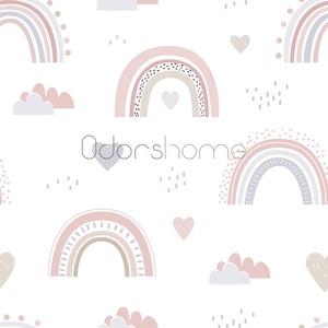 Premium Designer Pamutvászon textil, Rózsaszín Szivárvány mintás, Kislányos textil, Skandi szivárvány, Skandináv textil, Textil, Pamut, Varrás, Textil, Nagy örömmel mutatjuk be egyedi mintás prémium designer pamutvászon textilünket! \n\nNagyon cuki kislá..., Meska