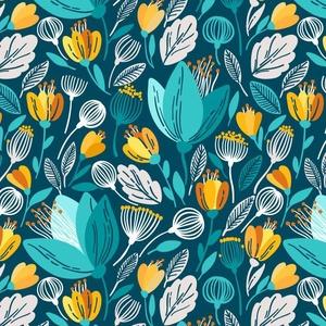 Kék virágos mintás designer pamut jersey, pamutvászon méteráru, virágos dekorvászon, virágos mintás pamut jersey, Textil, Pamut, Varrás, Textil, 100 % pamut kellemes tapintású textil virágos mintával. Kék alapon sárga és türkiz színű virágokkal...., Meska