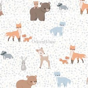 Erdei állatos mintás designer prémium pamutvászon méteráru, dekor textil, maci, róka, őzike, borz, nyuszi, Textil, Pamut, Varrás, Textil, 100 % pamut kellemes tapintású, legmagasabb minőségű prémium pamutvászon munkagép mintás\n\nA kisfiúk ..., Meska