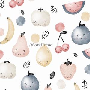 Boldog Gyümölcsök designer prémium pamutvászon méteráru, dekor textil, mosolygós citrom, körte, barack, dinnye, eper, Textil, Pamut, Varrás, Textil, 100 % pamut kellemes tapintású, legmagasabb minőségű prémium pamutvászon gyümölcs mintás\n\nItt aztán ..., Meska