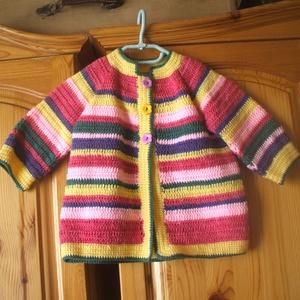 Vidám, színes horgolt kabát sapkával (Ohombohom) - Meska.hu