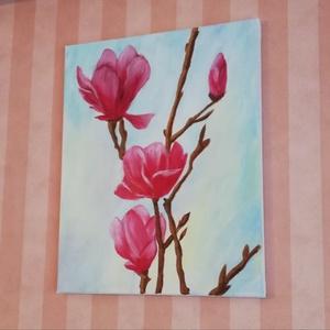 Virág csendélet tanulmánykép , Otthon & lakás, Képzőművészet, Festmény, Akril, Festészet, 50x40, akril, feszített vászon , Meska