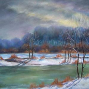 Hideg fények, pasztell festmény, Képzőművészet, Otthon & lakás, Festmény, Pasztell, Festészet, Hideg fények, 40x50 cm, pasztell festmény farostlemezre, üveg előlappal., Meska