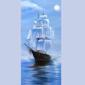 Tengeri utazás , Olajfestmény 39x17 cm, , Olajfestmény, Festmény, Művészet, Festészet, Tengeri utazás\n39x17 cm, olaj festmény, farostlemezre\n, Meska