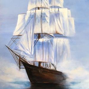 Olajfestmény , 39x17 cm, , Művészet, Festmény, Olajfestmény, Festészet, Tengeri utazás, olajfestmény 39x17 cm, farostlemezre, Meska