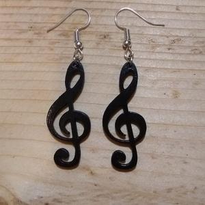 Szimfónia - violinkulcs alakú fa fülbevaló, Lógó fülbevaló, Fülbevaló, Ékszer, Ékszerkészítés, Gravírozás, pirográfia, Zenészeknek, zenekedvelő hölgyeknek ideális ajándék lehet.\nEredendően fekete színben álmodtuk meg, d..., Meska