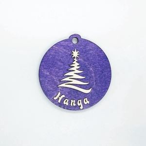 Névre szóló lila karácsonyfa dísz, Karácsony, Karácsonyfadíszek, Gravírozás, pirográfia, Lepd meg önmagad és szeretteidet egyedi, névre szóló karácsonyfadísszel! Az egyik oldalon a karácso..., Meska