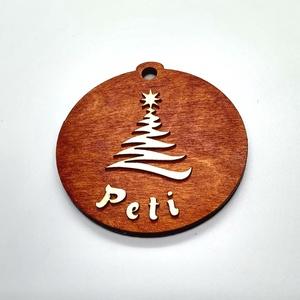 Névre szóló barna karácsonyfa dísz, Karácsony & Mikulás, Karácsonyfadísz, Gravírozás, pirográfia, Lepd meg önmagad és szeretteidet egyedi, névre szóló karácsonyfadísszel!\nAz egyik oldalon a karácson..., Meska