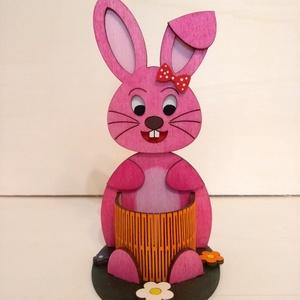 Rózsaszín Húsvéti nyuszi -tojástartó, Otthon & Lakás, Tárolás & Rendszerezés, Játéktároló, Famegmunkálás, Gravírozás, pirográfia, A gyerekeknek nagy élmény a húsvéti tojások felkutatása. Ha egy ilyen nyuszit is találnak a tojás me..., Meska