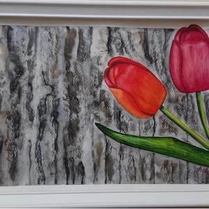 Akvarell festmény - Tulipánok - 204, Művészet, Festmény, Akvarell, Festészet, Tulipánok. Egy piros és egy narancsszínű. Párban, kiegészítve egymást és örökké együtt. Kedvenc tava..., Meska