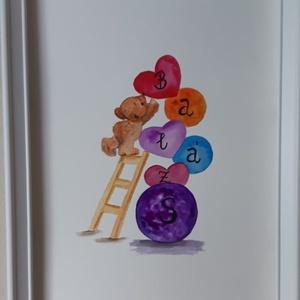 Névnapi akvarell festmény - a gyerekszobák dísze, Művészet, Festmény, Akvarell, Festészet, Lepd meg gyermeked egy névre szóló akvarellfestménnyel!\nA termék megrendelésre készül, a megrendelő ..., Meska