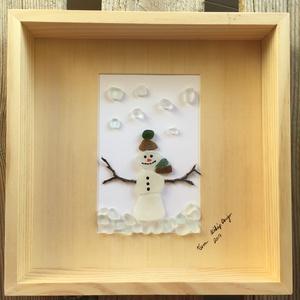 Hóember2, Otthon & Lakás, Kép & Falikép, Dekoráció, Ez az átlátszó kövekből készült Hóemberes kép igazán egyedi ajándék, a gyerekek kedvence megmarad eg..., Meska