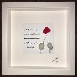 Szerelem, Dekoráció, Otthon & lakás, Egyéb, Esküvő, Szerelmeseknek, Ünnepi dekoráció, Mindenmás, Igazán egyedi ajándék ez a kavicsokból készült kép!\nBármilyen más idézettel kérhető. Valentin-napra,..., Meska