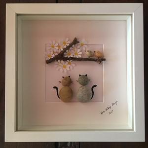 Macskásoknak, Dekoráció, Otthon & lakás, Egyéb, Kép, Mindenmás, Igazán egyedi ajándék ez a kavicsokból készült kép! \nMég személyesebbé tehető valamilyen üzenettel, ..., Meska