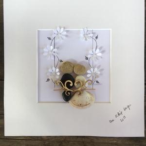 A Nagy Nap, Kép & Falikép, Dekoráció, Otthon & Lakás, Mindenmás, Fotó, grafika, rajz, illusztráció, Igazán egyedi, személyre szóló ajándék ez a kavicsokból, kagylóból készült esküvői kép. Még személye..., Meska