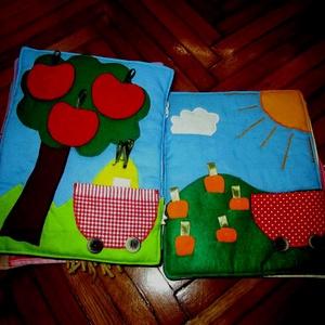 Névre szóló készségfejlesztő  textilkönyv /18 oldalas, Játék & Gyerek, Textilkönyv & Babakönyv, Varrás,    A képen látható interaktív textilkönyv megrendelésre készült, de szívesen elkészítem újra. \n  18 ..., Meska