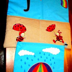 Esernyő esernyős katicás életképes ovisszett, oviszsák és tornazsák, Gyerek & játék, Baba-mama kellék, Varrás, A képen látható ovisszettet saját applikációval készült. Az oviszsákon alul egy osztott zseb találha..., Meska