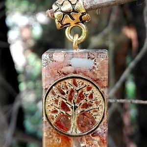 """Orgonit \""""életfás\"""" medál , Medál, Nyaklánc, Ékszer, Ékszerkészítés, Mindenmás, Csodaszép arany színű orgonit medál életfa szimbólummal amely napkővel, holdkővel, karneollal, szele..., Meska"""