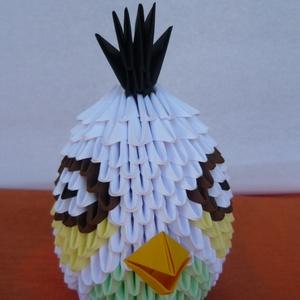 Angry birds /fehér/, Játék, Gyerek & játék, Játékfigura, Egyéb, Papírművészet, Mérges madár\nA termék origami papírhajtogatási technikával készült. 6x3,5 cm-es kis téglalapokból ha..., Meska