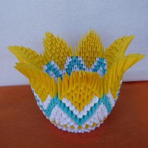 Sárga tulipán kehely, Dekoráció, Otthon & lakás, Dísz, Lakberendezés, Asztaldísz, Papírművészet, \nA termék origami papírhajtogatási technikával készült. 6x3,5 cm-es kis téglalapokból hajtogattam és..., Meska