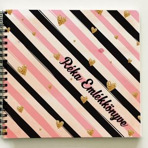 Névre szóló Lánybúcsú ajándék csíkos emlékkönyv - egyedi album - emlék a menyasszonynak - füzet / napló - 21x19cm, Otthon & Lakás, Album & Fotóalbum, Papír írószer, KÉRHETED más szöveggel is! Lánybúcsúra, esküvőre, eljegyzésre, lánykérésre frappáns ajándék lehet. M..., Meska