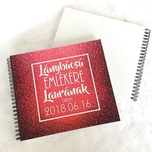 Lánybúcsú ajándék emlékkönyv - Rózsazín Prémium egyedi album - emlék a menyasszonynak - füzet / napló - 21x19cm - otthon & lakás - papír írószer - album & fotóalbum - Meska.hu