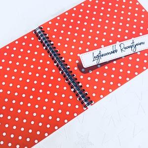 Receptkönyv ajándék piros pöttyös  - Megható ajándékötlet - emlék unokának / nagylányodnak - füzet / napló - 21x19cm (OromKonnyek) - Meska.hu