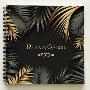 """Szerelmes TRENDI Fotóalbum Fénykép album / Esküvőre is kitűnő nászajándék -40lap/80oldal - 21x19cm KARÁCSONYI AJÁNDÉK, Otthon & Lakás, Album & Fotóalbum, Papír írószer, A Ti NEVETEKKEL vagy SAJÁT SZÖVEGGEL IS kérheted!ÚJ """"TROPICAL"""" kollekció - arany-fekete színű beraga..., Meska"""