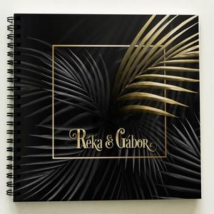 """MODERN Fotóalbum a PÁRODNAK Fénykép album / Esküvőre is kitűnő nászajándék -40lap/80oldal - 21x19cm KARÁCSONYI AJÁNDÉK, Otthon & Lakás, Album & Fotóalbum, Papír írószer, A Ti NEVETEKKEL vagy SAJÁT SZÖVEGGEL IS kérheted! ÚJ """"TROPICAL"""" kollekció - arany-fekete színű berag..., Meska"""