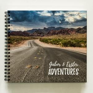 Adventures / Kalandozások - Névreszóló Emlékkönyv - ajándék album / napló - ajándék ötlet karácsonyra / napló - 21x19cm, Esküvő, Emlék & Ajándék, Album & Fotóalbum, Lepd meg a párodat egy névreszóló CSAK Nektek készülő albummal. Közös utazásokat, kalandozásokat ter..., Meska