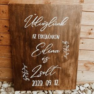 Esküvői fa üdvözlő tábla - Meska.hu