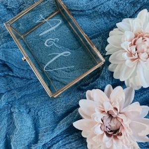 Üveg gyűrűtartó, Esküvő, Gyűrűtartó & Gyűrűpárna, Kiegészítők, Gravírozás, pirográfia, Meska