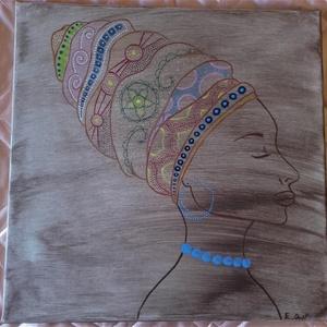 Turbános nő, Otthon & lakás, Képzőművészet, Festmény, Akril, Festészet, Eladó a képen szereplő, turbános nőt ábrázoló festmény.\n\nKészült: akrillal\n\nMérete: 40 x 40 cm\n\nÁtve..., Meska