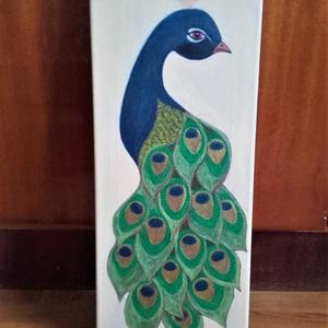 Pávás festmény, Otthon & lakás, Képzőművészet, Festmény, Akril, Festészet, Eladó a képen szereplő, pávát ábrázoló festmény.\n\nKészült: metálos akril festékkel\n\nMérete: 20 x 40 ..., Meska