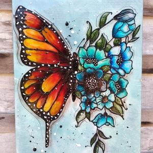 Pillangó kék virágokkal; 30x40 cm-es üveg kép, Otthon & Lakás, Dekoráció, Kép & Falikép, Üvegművészet, Festészet, Pillangó virágokkal sorozatom egyik tagja.\nNagy méretű 30 x 40 cm egyedi üvegfestékkel festett üveg ..., Meska