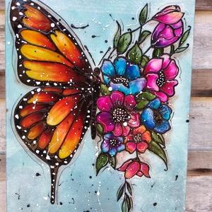 Pillangó színes virágokkal; 30x40 cm-es üveg kép, Otthon & Lakás, Dekoráció, Kép & Falikép, Festészet, Üvegművészet, Pillangó virágokkal sorozatom egyik tagja.\nNagy méretű 30 x 40 cm egyedi üvegfestékkel festett üveg ..., Meska
