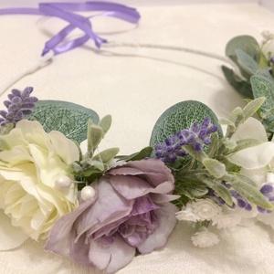 Levendulás selyemvirág hajkoszorú, Táska, Divat & Szépség, Esküvő, Esküvői ékszer, Hajdísz, ruhadísz, Ékszerkészítés, Virágkötés, Halványlila, fehér rózsákkal és levendulával ékesített selyemvirágból készült egyedi hajkoszorú. Vin..., Meska