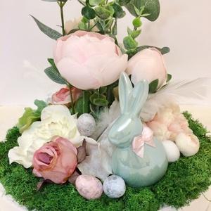 Zöld nyuszis kör alakú húsvéti virágos asztaldísz (Orsoladesign) - Meska.hu