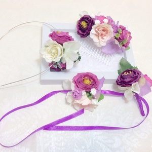Ultraviola lila menyasszonyi csuklódísz - esküvő - ékszer - karkötő & csuklódísz - Meska.hu