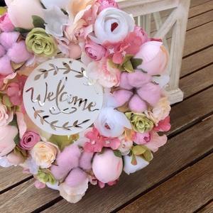 Pasztell selyemvirágos romanikus ajtódísz welcome felirattal (Orsoladesign) - Meska.hu